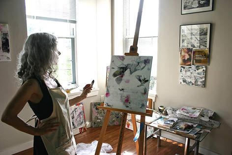 Susan painting at easel